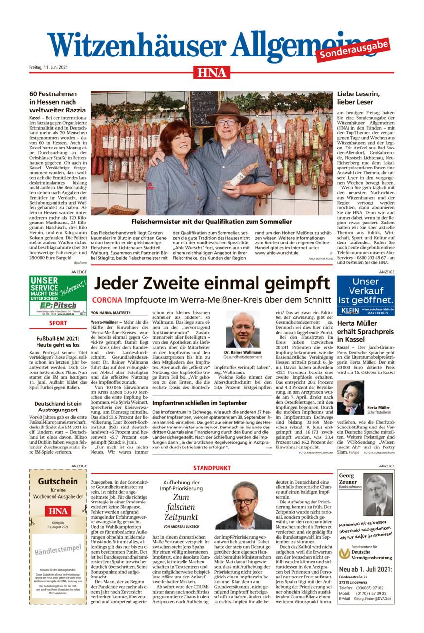 Sonderausgabe Witzenhausen vom Freitag, 11.06.2021
